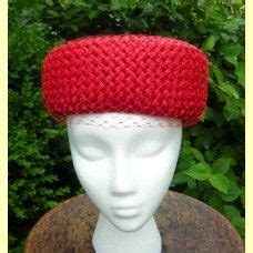 1960s Red Sears Millinery Straw Pillbox Hat with Net Veil