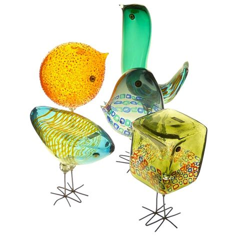 Extremely rare complete collection of the five Glass birds