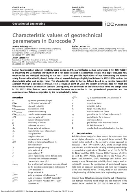 (PDF) Characteristic values of geotechnical parameters in