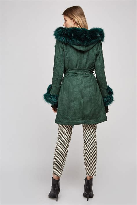 Belted Faux Fur Trim Coat - Forest Green - Just $50