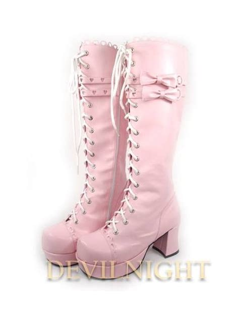 White/Pink/Black Lace-up High Heel Sweet Lolita Boots With