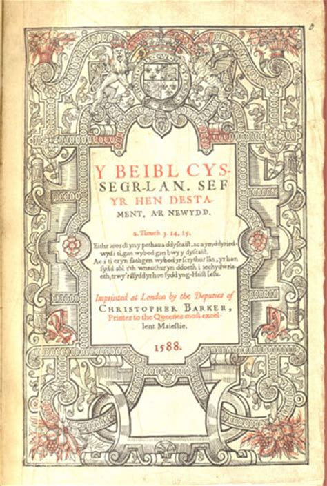 The Bible in Welsh (London: Christopher Barker, 1588