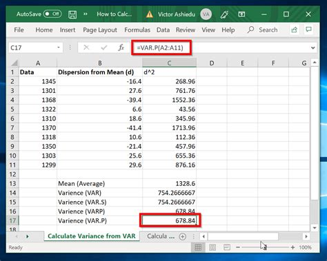 How-to-Calculate-Variance-in-Excel-with-VAR