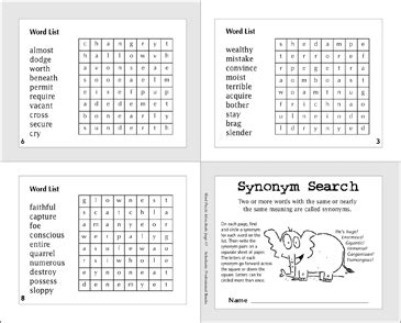 Synonym Search | Printable Mini-Books and Word Searches